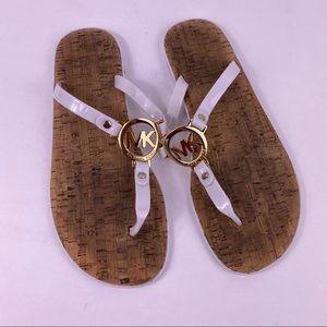Michael Kors cork white flip flop sandals